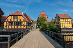 De Oude Stad in Aarhus, Denemarken Stock Foto's