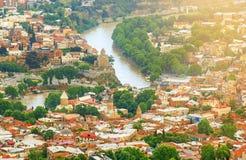 De oude stad en de architectuur van Tbilisi stock fotografie