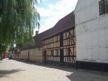 De Oude Stad van Aarhus in Denemarken stock foto's