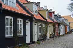 De oude stad van Aarhus in Denemarken Scandinavië royalty-vrije stock afbeelding