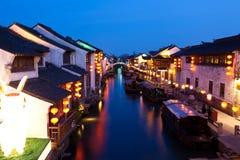De oude stad van China bij nacht Stock Fotografie
