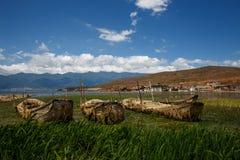 De oude stad van de bootoever van het meer van Dali, in de provincie van Yunnan van China Stock Afbeelding