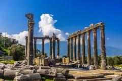 De Oude Stad van Euromoseuromus Soke - Milas-weg, Mugla, Turkije De tempel van Zeus Lepsynos werd gebouwd in de 2de eeuw stock afbeeldingen