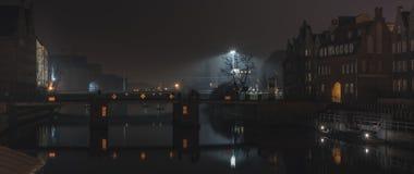 De oude stad van GdaÅsk, nightshot Stock Fotografie