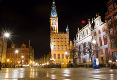 De oude stad van Gdansk bij nacht Royalty-vrije Stock Fotografie