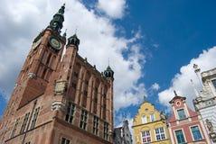 De Oude Stad van Gdansk, het standbeeld van Neptunus en Stadhuis Stock Foto's