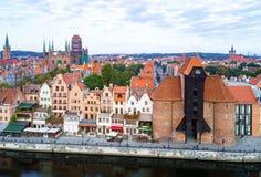 De oude stad van Gdansk, Polen Lucht Mening royalty-vrije stock foto's