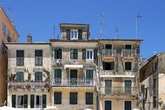 De oude stad van gebouwenkorfu Stock Foto