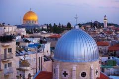 De Oude Stad van Jeruzalem bij Nacht, Israël stock afbeeldingen