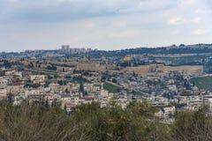 De Oude Stad van Jeruzalem van het Onderstel van Olijven Oude Stad van Jeruzalem stock afbeelding