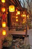 De oude stad van Jinli bij nacht Stock Afbeelding