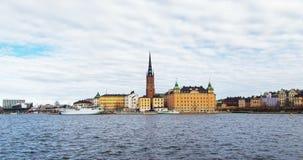 De oude stad van Stockholm hyperlapse, Zweden stock footage
