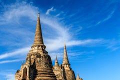 De oude stad van Wat Phra Si Sanphet en historische plaats Gevestigde I Royalty-vrije Stock Foto's