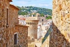 De oude stad Vila Vella van Tossa de Mar in Costa Brava Stock Afbeelding