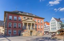 De oude stadhuisbouw bij het marktvierkant van Detmold Royalty-vrije Stock Afbeeldingen