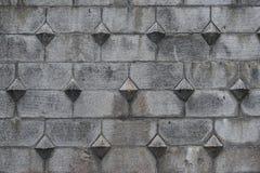 De oude steen blokkeert patroon op de oppervlakte van de vestingsmuur Grijze steenachtergrond met Europese middeleeuwse stijl Ges royalty-vrije stock foto's