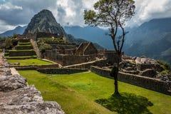 De oude steenruïne in Machu Picchu stock afbeelding