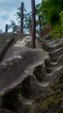 De oude steenstappen die op een heuvel aan beide kanten gras toenemen Steentreden omhoog een grasheuvel Royalty-vrije Stock Foto