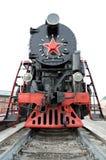De oude stoomlocomotief Dergelijke stoomlocomotieven werden gebruikt in de eerste helft van de 20ste eeuw, in de Sovjetunie Stock Afbeelding