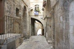De oude straat van Jeruzalem stock afbeeldingen