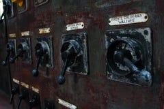 De oude thermische elektrische centrale, roestig en retro ziet eruit royalty-vrije stock fotografie