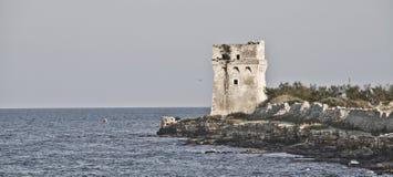 De oude toren van het steenhorloge Royalty-vrije Stock Foto