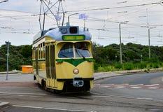 De oude tram in Holland stock afbeelding