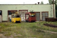De oude trams royalty-vrije stock fotografie