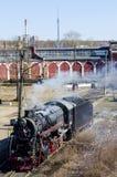 De oude trein op de sporen Royalty-vrije Stock Foto's