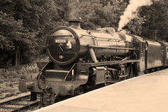 De oude Trein van de Stoom in Zwart-wit Royalty-vrije Stock Foto's