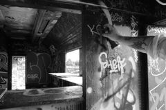 De oude treinwagen Stock Fotografie