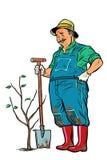 De oude tuinman plant een zaailing Isoleer op witte achtergrond royalty-vrije illustratie