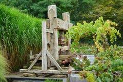 De oude uitstekende Druif van de wijnpers stock fotografie