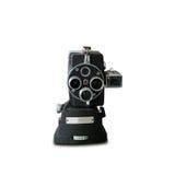 De oude uitstekende filmcamera isoleert op wit Stock Foto's