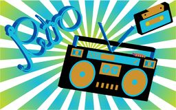 De oude uitstekende retro hippies is modieuze isometrische cassettes van 70 ` s, 80 ` s, 90 ` s tegen de achtergrond van zonne ab vector illustratie