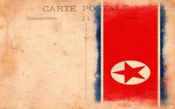 De oude Uitstekende Vlag Van de Noord- prentbriefkaar Grunge van Korea Royalty-vrije Stock Afbeeldingen