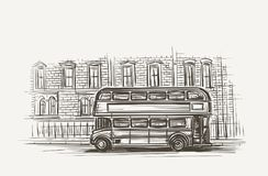 De oude van het de bus dubbele dek van Londen getrokken illustratie hand Vector Royalty-vrije Stock Afbeeldingen