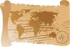 De oude vector van de wereldkaart royalty-vrije illustratie