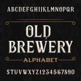 De oude vectordoopvont van het brouwerijalfabet Typeletters en getallen Stock Afbeeldingen
