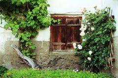 De oude vensters met houten blinden Stock Foto's