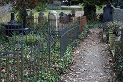 De oude verlaten begraafplaats stock afbeeldingen