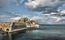De Oude Vesting in de stad van Korfu stock foto's