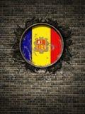 De oude vlag van Andorra in bakstenen muur royalty-vrije illustratie