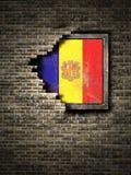 De oude vlag van Andorra in bakstenen muur stock illustratie
