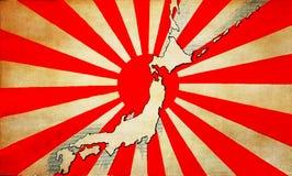 De oude vlag van Japan met kaart Royalty-vrije Stock Fotografie