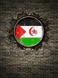De oude vlag van de Republiek van Sahrawi Arabische Democratische in bakstenen muur Royalty-vrije Stock Foto