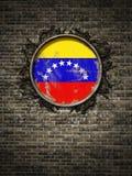 De oude vlag van Venezuela in bakstenen muur Stock Foto