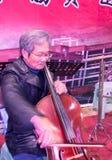 De oude volksmusici zijn auditie stock afbeelding