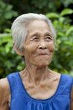 De oude vrouw Azië van het portret royalty-vrije stock fotografie