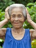 De oude vrouw Azië van het portret royalty-vrije stock foto's